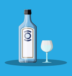 Bottle of gin with shot glass gin alcohol drink vector