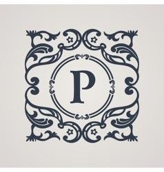 Calligraphic floral emblem Vecoor vintage symbol vector image vector image