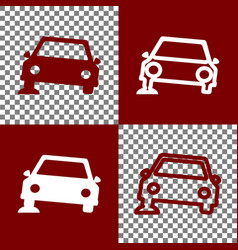 Car parking sign bordo and white icons vector