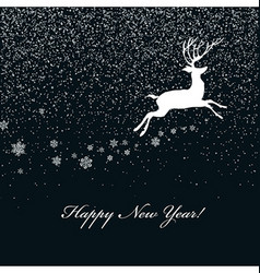 Christmas postcard with deer silhouette vector image vector image