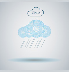 Cloud computer made of numbers vector