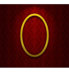 Golden elliptic frame on red ornamental wallpaper vector image