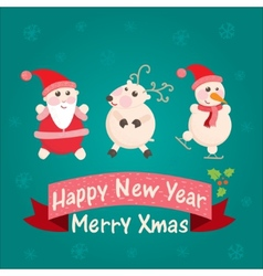 greeting card with Santa Claus snowman vector image