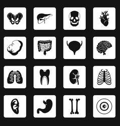 Human organs icons set squares vector