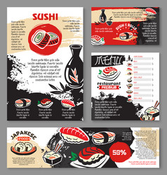 japanese seafood restaurant sushi menu template vector image vector image