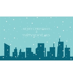 Merry christmas and happy new years with city vector