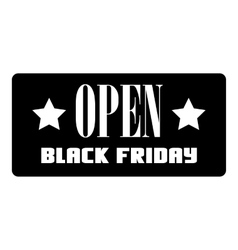 Open black friday label icon simple style vector