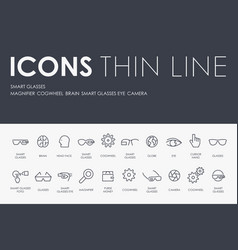 Smart glasses thin line icons vector
