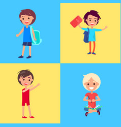 Smiling girls and boys isolated vector