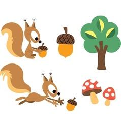 Squirrel acorn design elements vector
