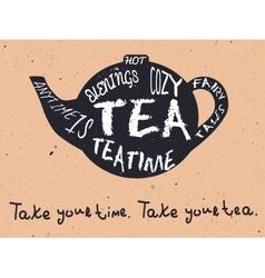 Teapot vintage card vector