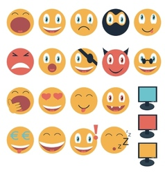 Vintage set of glossy Emoticons vector image