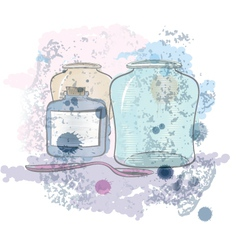 Water color jars and spoon vector