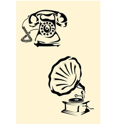 Gramophone phone vector