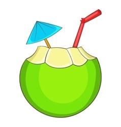 Coconut cocktail icon cartoon style vector image