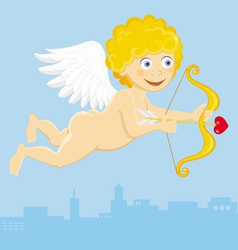 Flying cupid with arrow vector