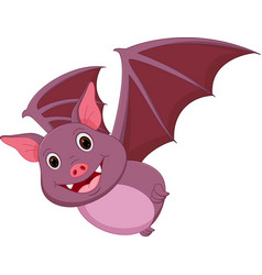 happy bat cartoon flying vector image