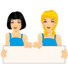 Two girls with poster vector