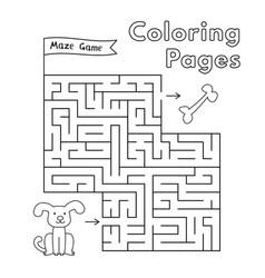 Cartoon dog maze game vector