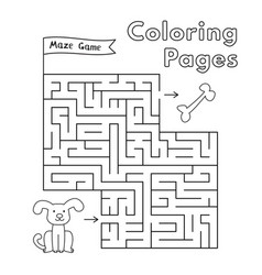 cartoon dog maze game vector image