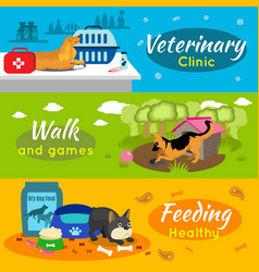 colorful pets horizontal banners vector image