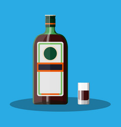 Bottle of grass liquor with shot glass vector