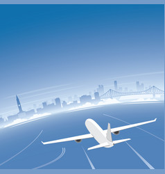brisbane skyline flight destination vector image