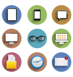 Flat technology circle icon set eps10 vector