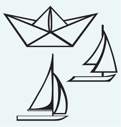 Origami paper ship and sailboat sailing vector