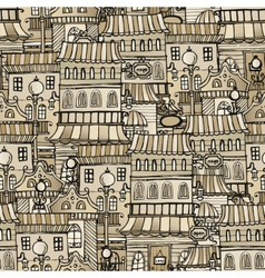 vintage houses seamless pattern vector image