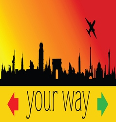 Choose your way with city and plane vector