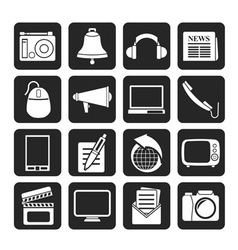 Silhouette communication and media icons vector