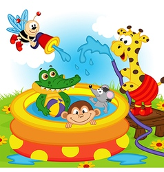 Animals in inflatable pool vector