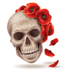 Skull poppy art vector