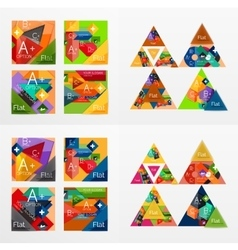 Flat design geometric info banners web boxes vector