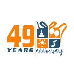 49 year gift box ribbon anniversa vector