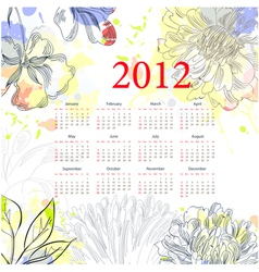 floral calendar for 2012 vector image