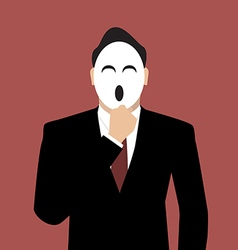 Businessman holding a mask vector