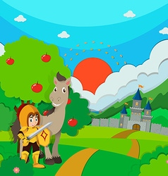 Knight and horse on the land vector