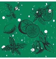 seamless pattern with lemon and mint vector image