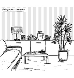 Interior of living room design black hand drawing vector