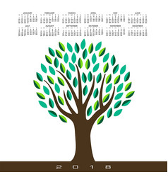 a 2018 calendar with a stylized abstract tree vector image vector image