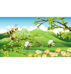 Bees near the mountain vector image vector image
