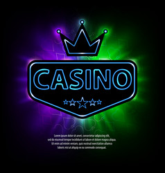 bright vegas casino banner with neon frame and vector image vector image