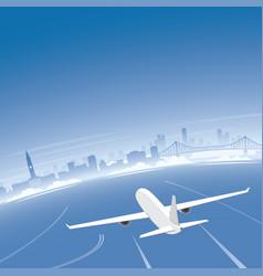 Brisbane skyline flight destination vector