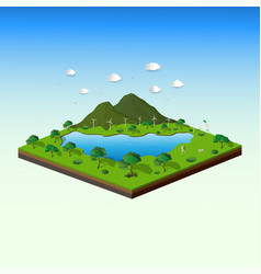 Concept of isometric landscape with nature and eco vector