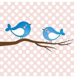 Cute beauty birds on the tree branch vector