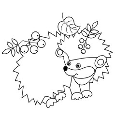cute hedgehog with leaves and berries vector image