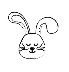 Figure teddy rabbit boy head animal wild vector