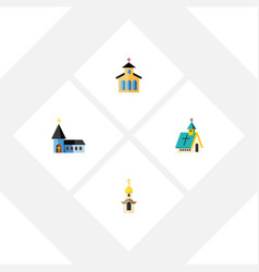Flat icon christian set of christian architecture vector